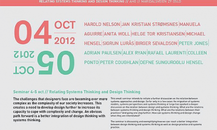 Innaugural Relating Systems Thinking and Design (RSD1) 2012 Symposium