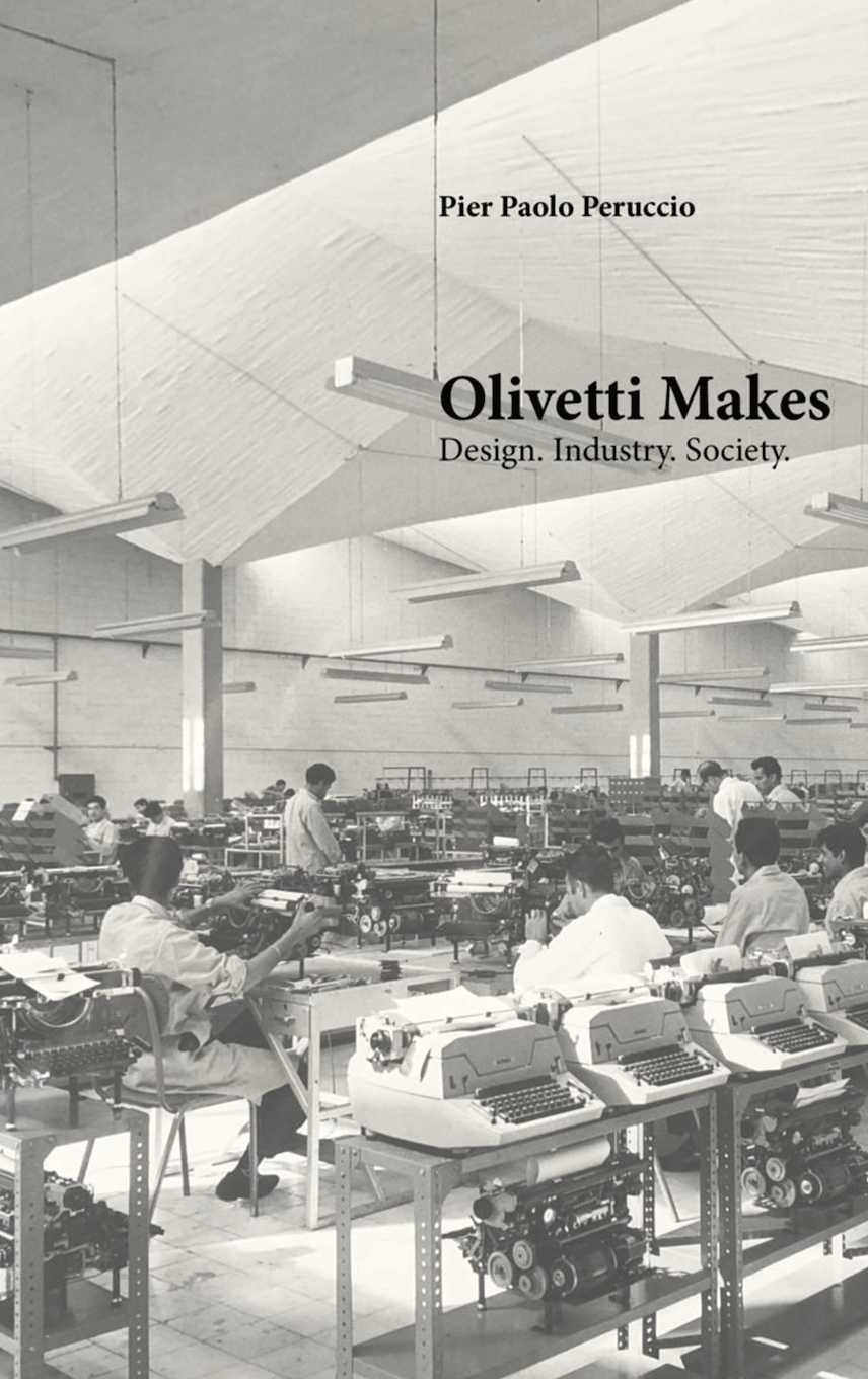 Book cover showing factory workers making Olivetti typewriters