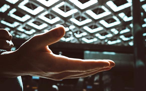 Hand under bright light