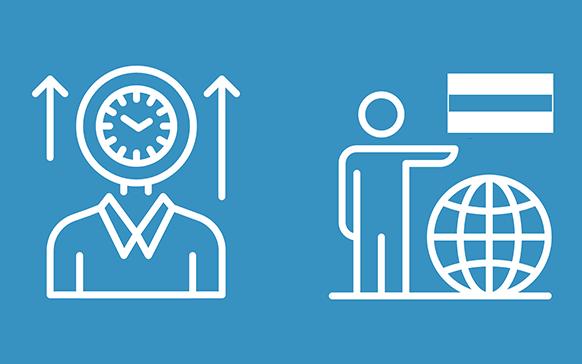 Icons that depict navigating timezones